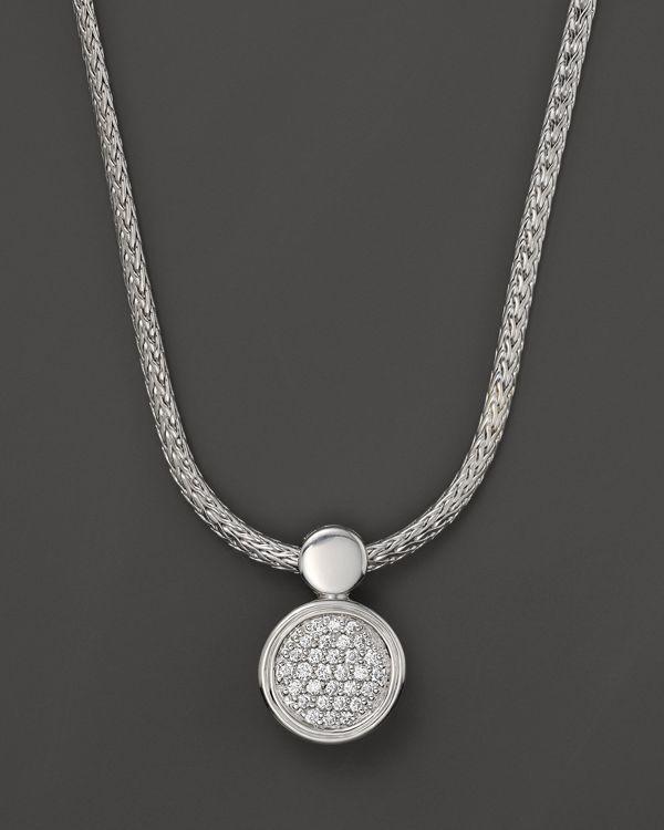 4124013e9c475 John Hardy Dot Silver Diamond Pave Round Drop Pendant Necklace