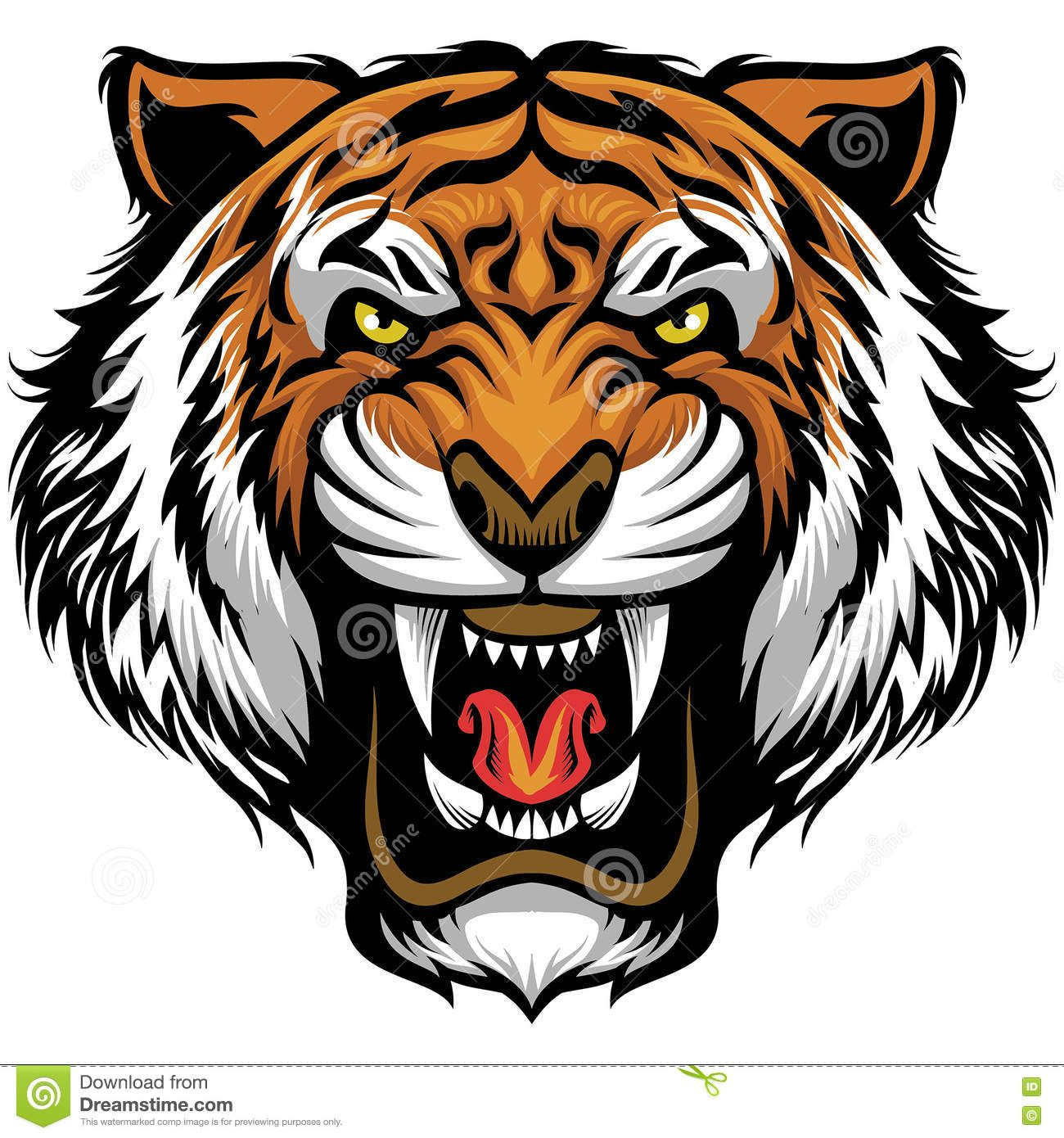 Angry Tiger Face Stock Vector Illustration Of Cartoon 70770388 Tiger Face Drawing Tiger Face Angry Tiger