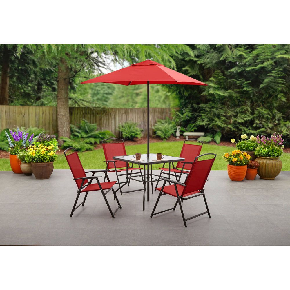 Outdoor Dining Set 6 Piece Folding Red Umbrella Table 4 Chairs
