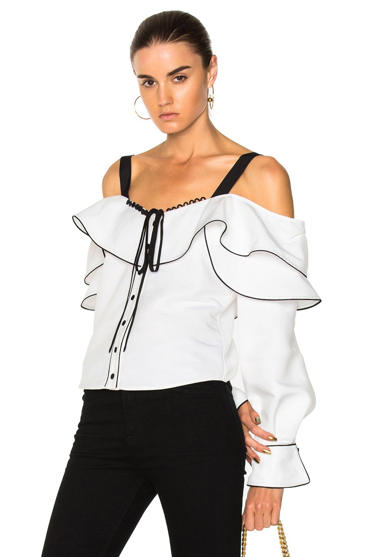 4a0444ba7 Image 1 of self-portrait Cotton Off Shoulder Frill Top in White White Off  Shoulder