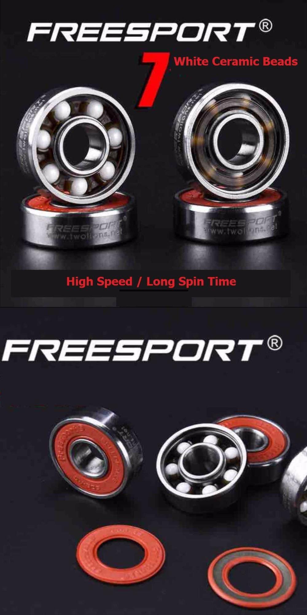 Visit To Buy 8 Piece Freesport 608 Hybrid Ceramic Bearing High Speed Abec 9 Inline Skate Bearings Skateboard Longb Skate Bearings Inline Skate Ceramic Beads
