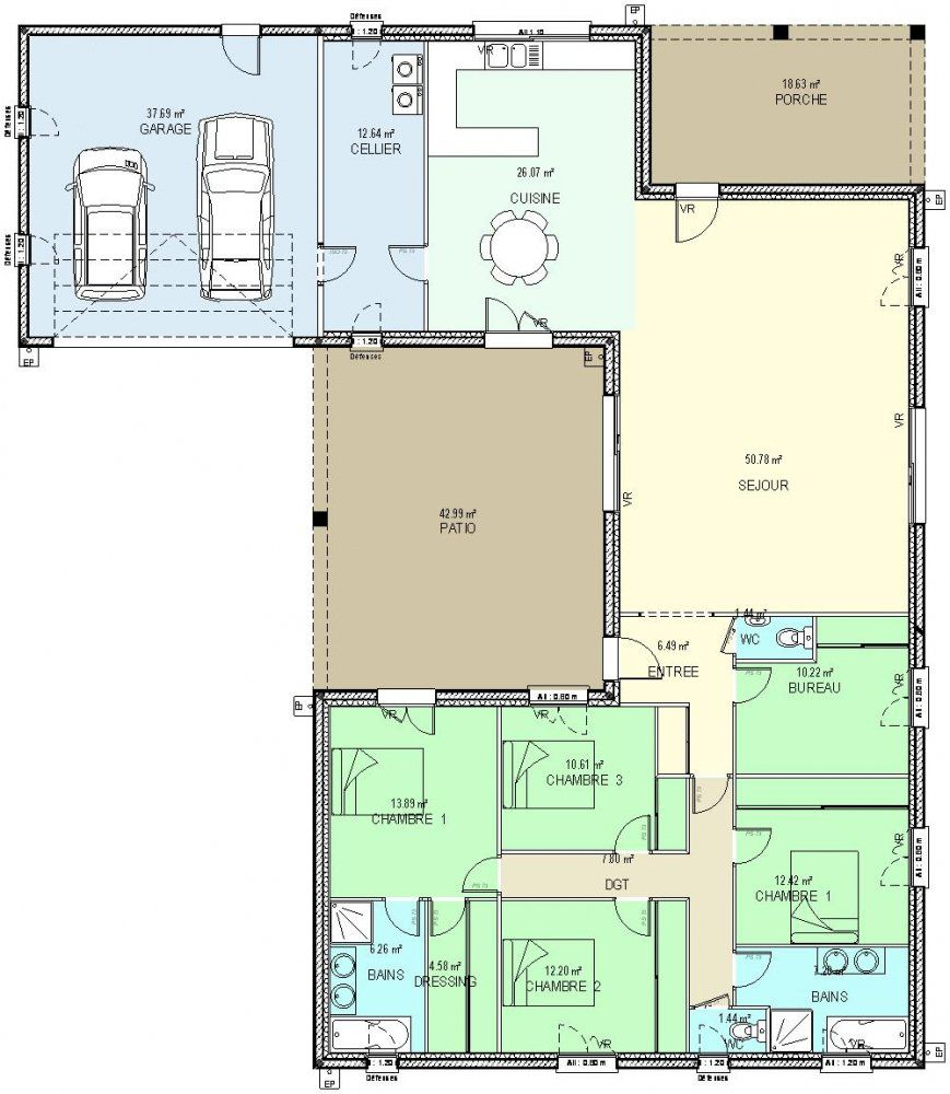 Image associ e plan maison pinterest construction for Plan maison 6 chambres