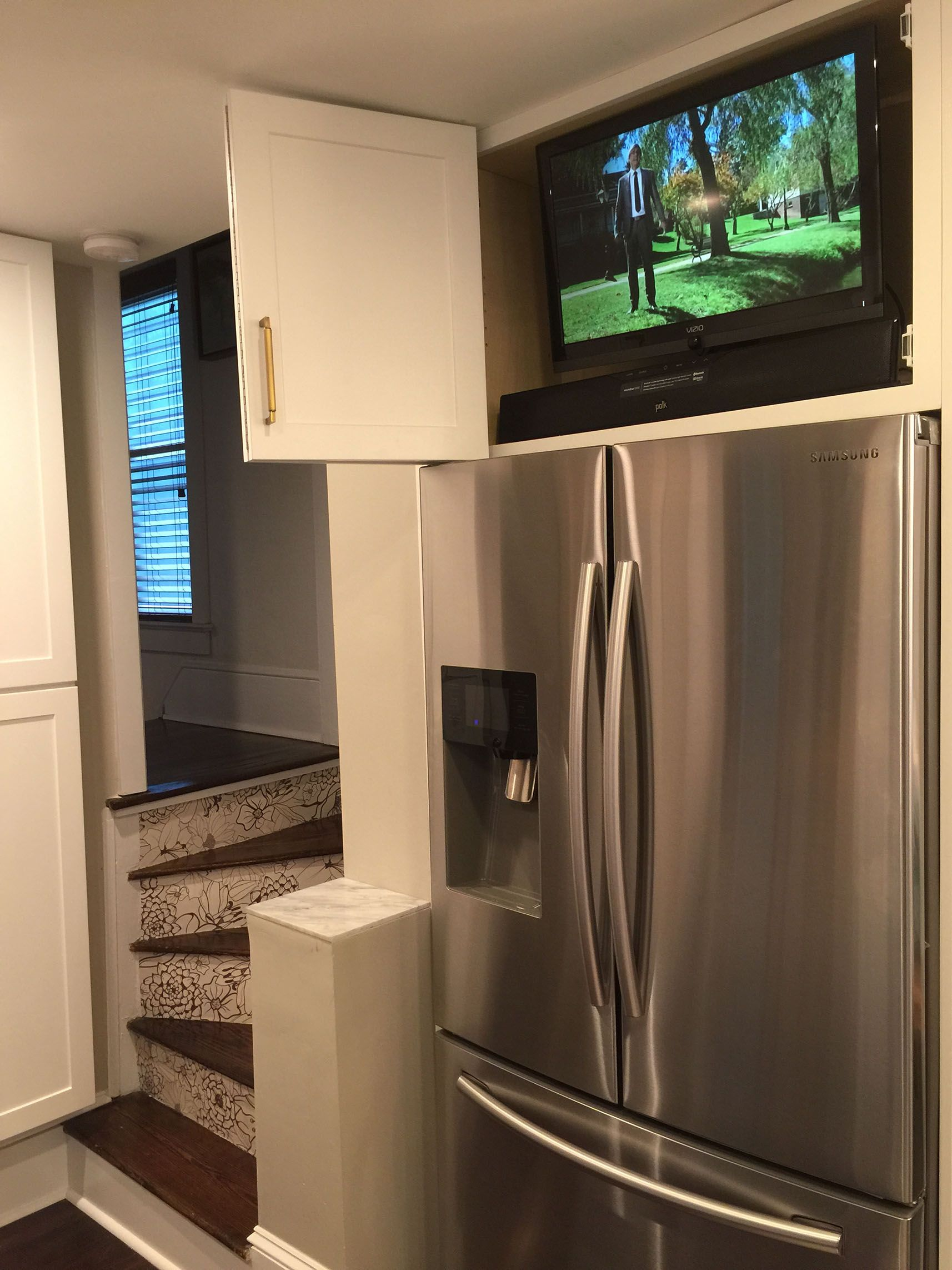 Tv In Cabinet Tv Over The Refrigerator Solid Wood Cabinets Cabinet Collingswood