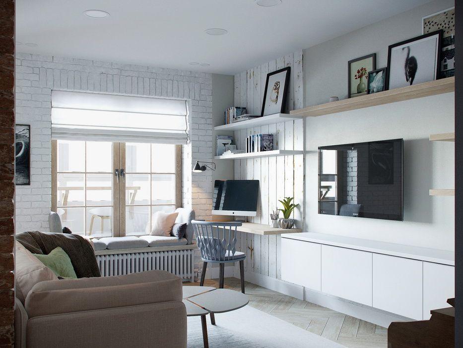 Touches de bois dans un intérieur blanc et gris studio salon