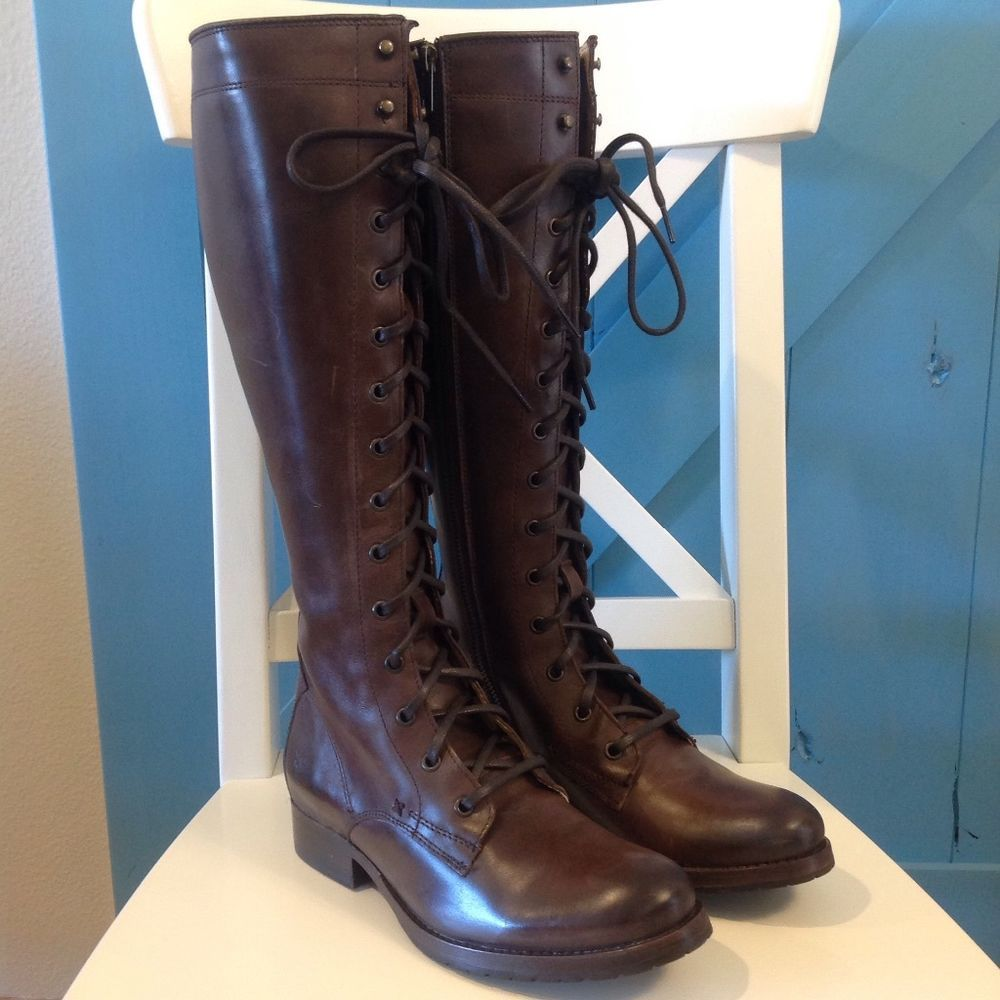 New FRYE Melissa Tall Lace Up Boot size 7 Dark Brown Leather (Blemishes)  $458