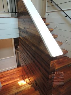 Stairway Reclaimed Barn Wood Treads Wall Treatment Stairs