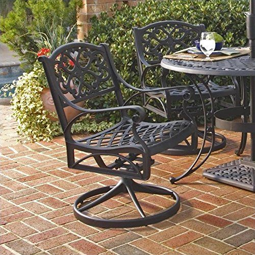 Home Style 555453 Biscayne Rockingswivel Outdoor Arm Chair Black