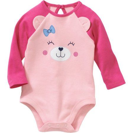 19902ab4d Garanimals Newborn Baby Girl Long Sleeve Bodysuit With 3D Bear Ears ...