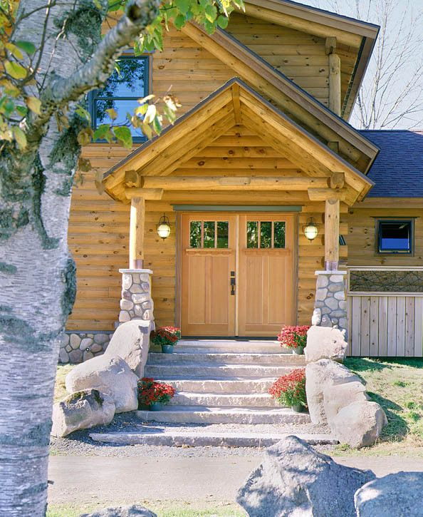 log porch | log home front porch « Real Log Style | Log Cabin entry ...