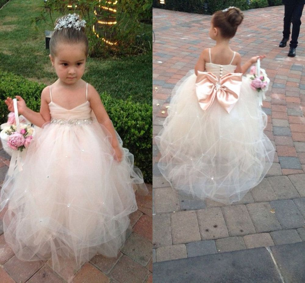 Lovely Beaded Bowknot Prom Formal Party Flower Dress Wedding Baby Gown