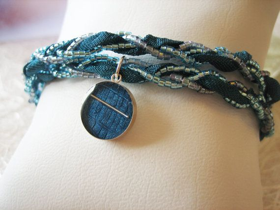 Dark Blue Ribbon Wrap Bracelet w/ Japanese Delica seed beads & Recycled Wallcovering $40.00  resin