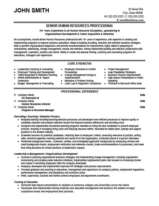 Senior HR Professional Resume Template Premium Resume Samples - hr generalist resumes