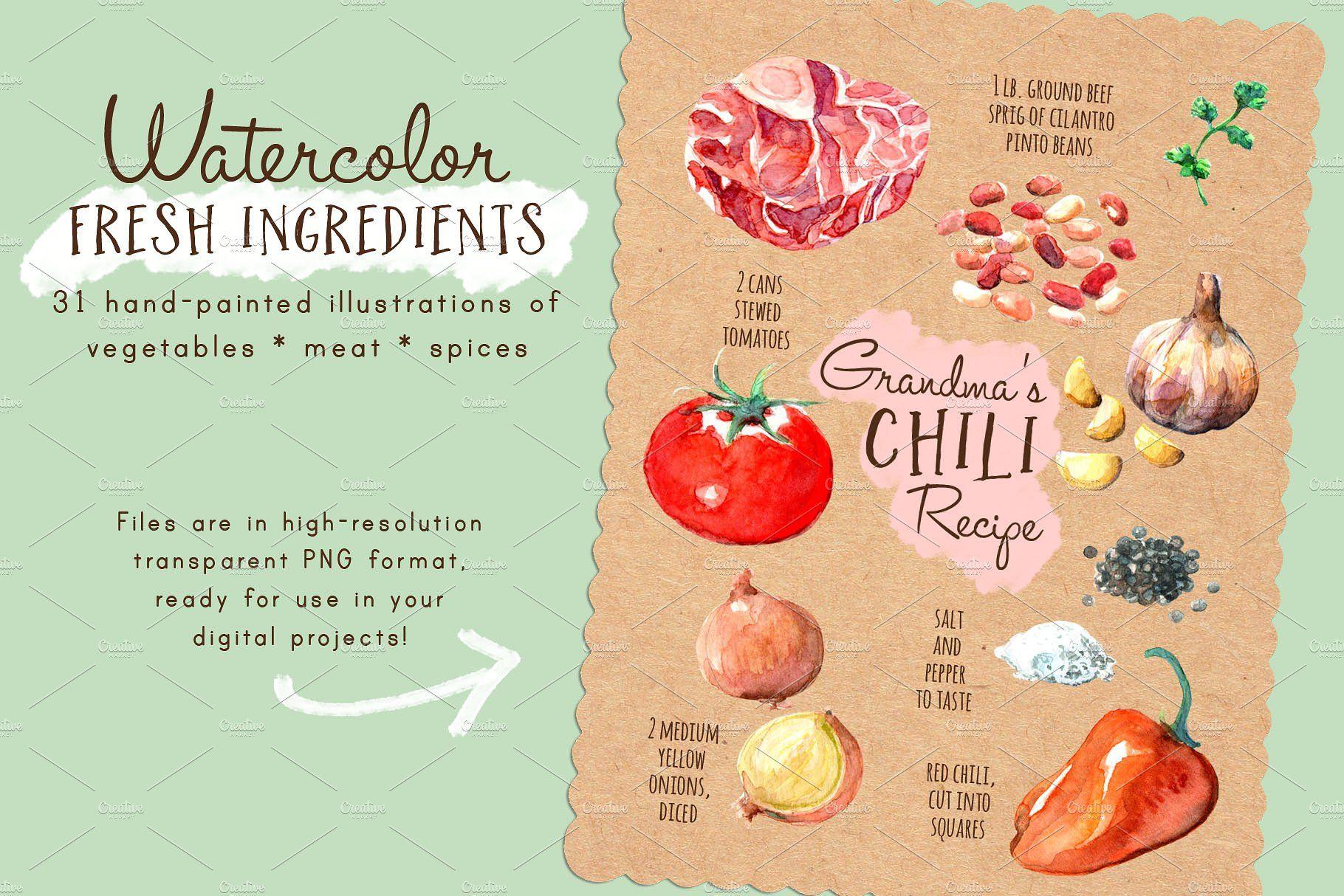 Watercolor Fresh Ingredients pxpatternzippedtile