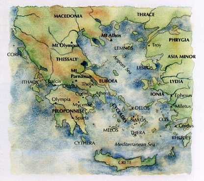 Image result for map of ancient greece myth