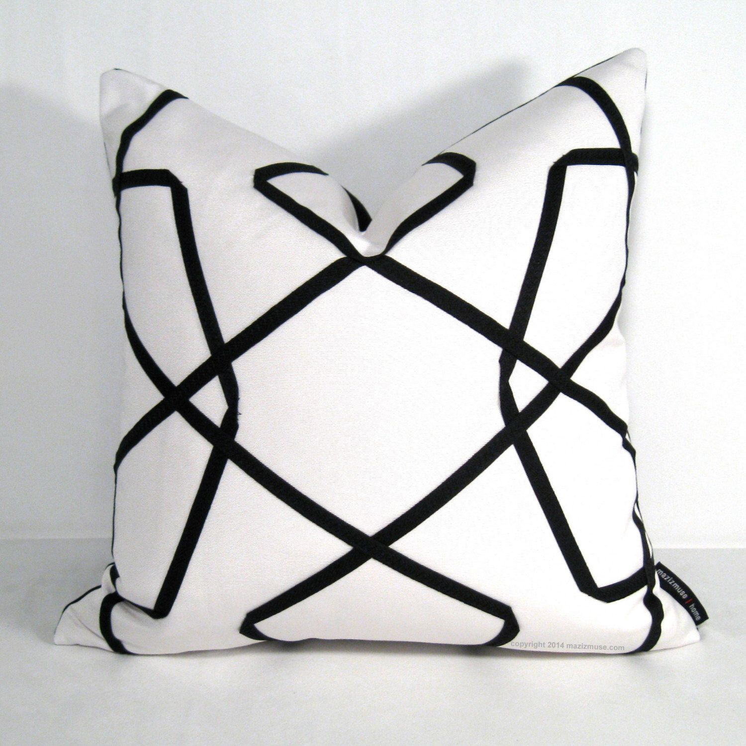 Black & White Outdoor Pillow Cover Modern Geometric Pillow Cover