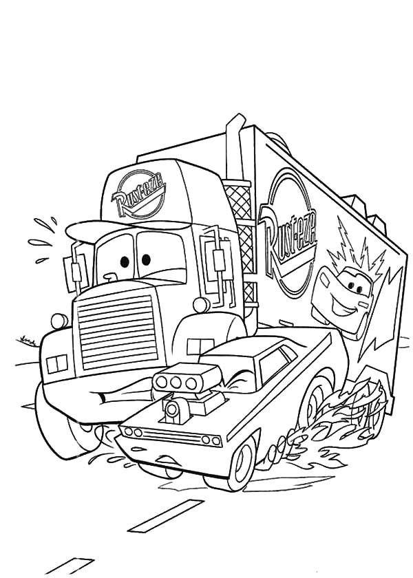 Disney Cars Mack The Truck Car Transporter Coloring Pages Best Place To Color In 2020 Monster Truck Coloring Pages Truck Coloring Pages Cars Coloring Pages