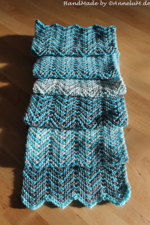 Zickzack Schal In Blau Crochet Pinterest Stricken Häkeln Und