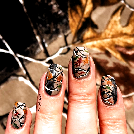 Realtree Mossy Oak Hunting Camo Fall Autumn Nails Nail Art In 2020 Camo Nails Hunting Nails Camo Nail Designs