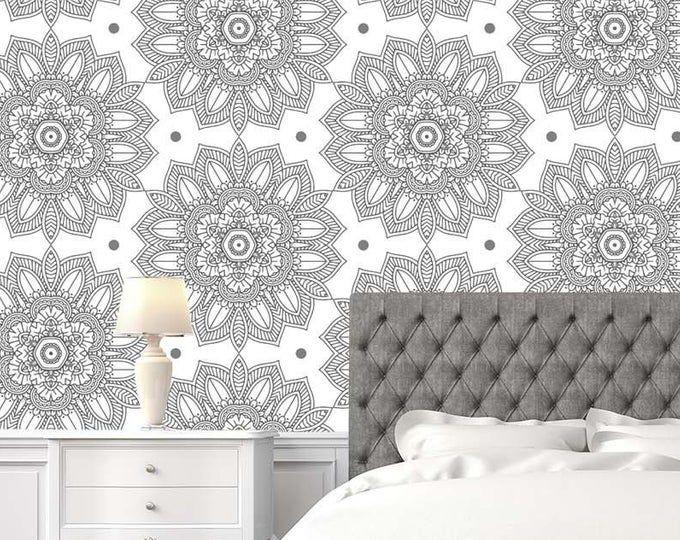 Indian Wallpaper Mandala Black And White Wallpaper Removable Etsy Black And White Wallpaper White Wallpaper Self Adhesive Wallpaper
