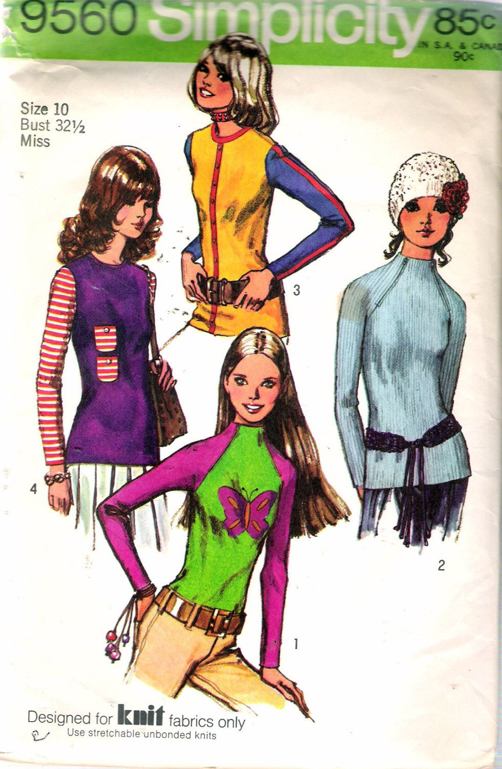 """Vintage 1971 Simplicity 9560 Misses' Set of Blouses Transfer For Applique Included For Knits Only Sewing Pattern Size 10 Bust 32  1/2"""" by Recycledelic1 on Etsy"""