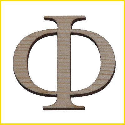 Greek Letter PHI Laser Cut Wood 1 5 inch SET OF 3
