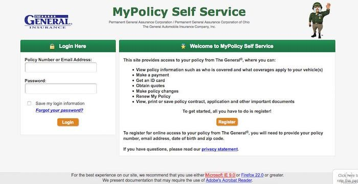 General Insurance Bill Pay Online Login Customer Service Sign