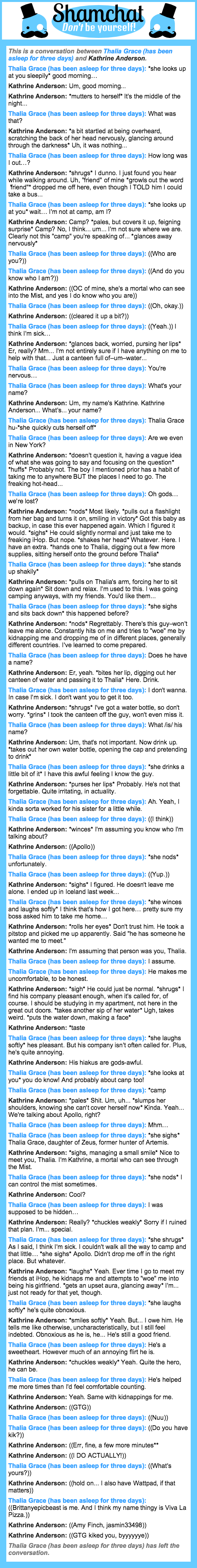 A conversation between Kathrine Anderson and Thalia Grace (has been asleep for three days)