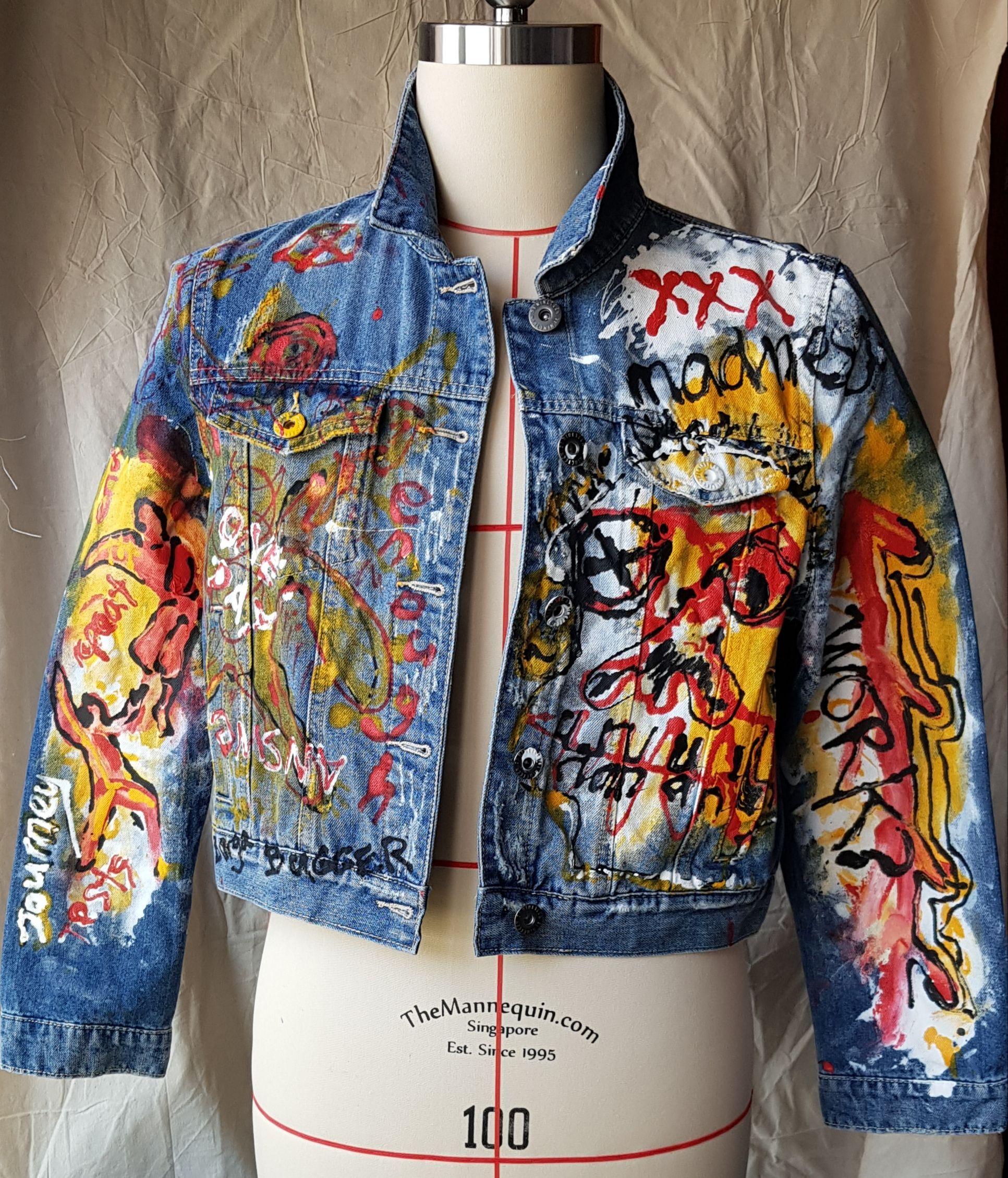 Graffitiart Hand Painted Denim Jacket Fashion Painted Denim Jacket [ 2259 x 1933 Pixel ]