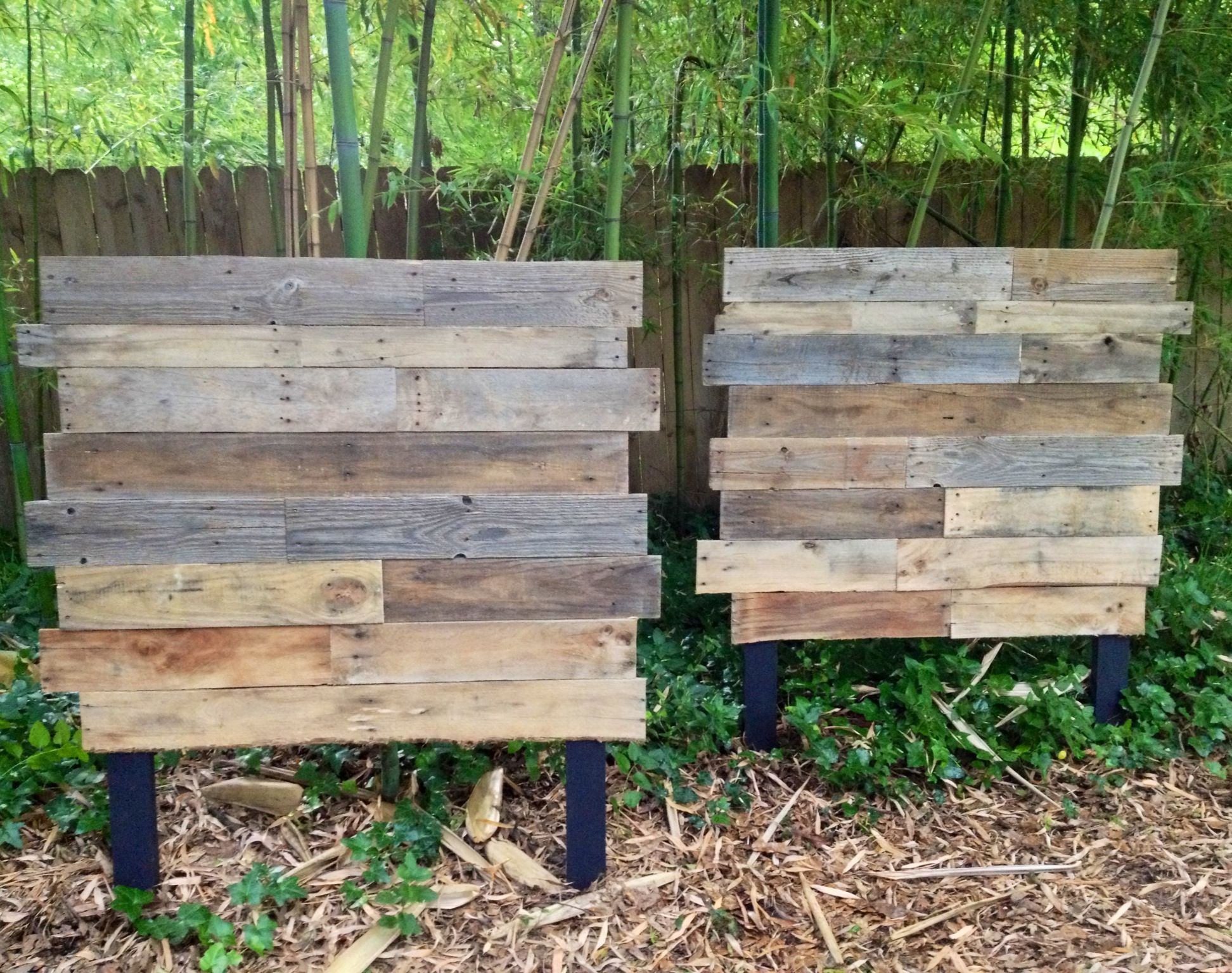 Twins for twins raw pallet wood matching twin headboards for Pallet wood headboard
