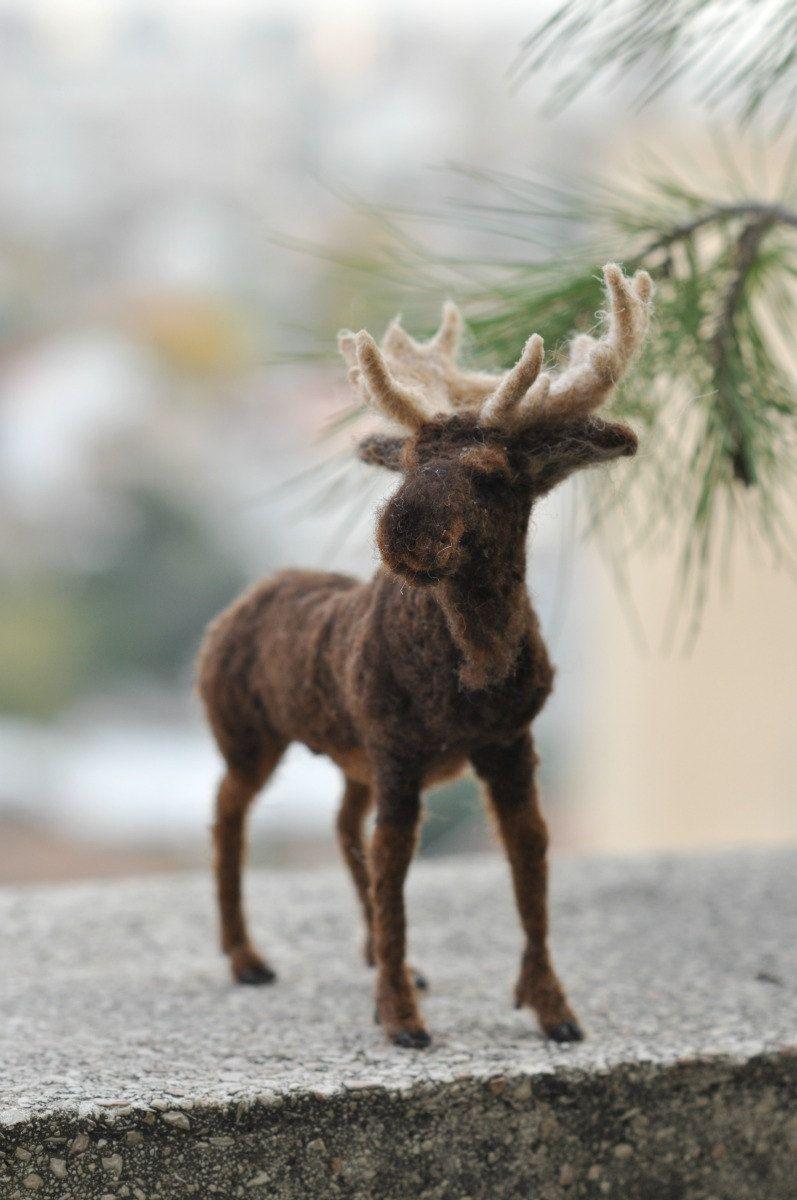 Needle Felted Animal. Felted Moose. Made to order #feltedwoolanimals