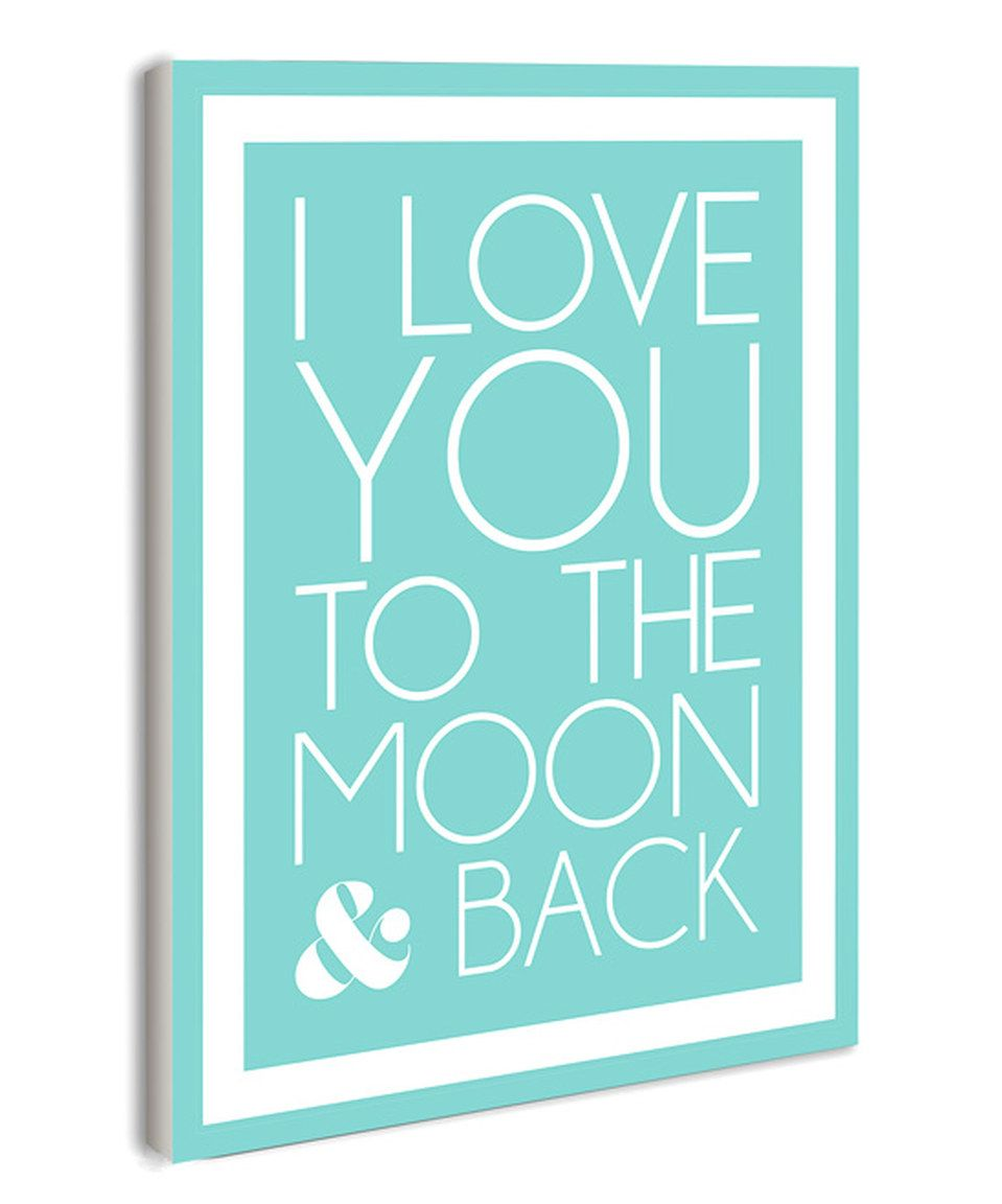 This blue ui love you to the moonu wall art by lulusimonstudios by