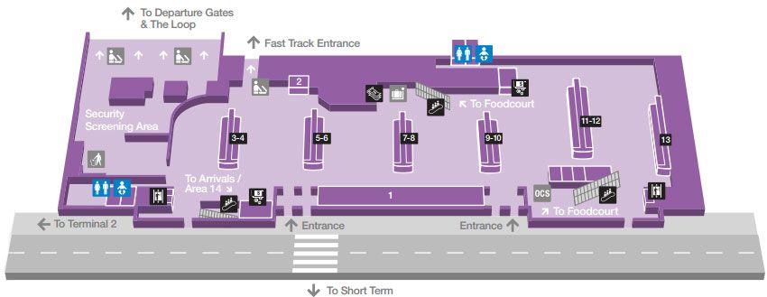 Departures T1 Map