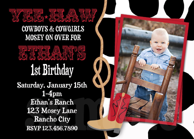 Cowboy Birthday Invitation Cowboy 1st Birthday Party Invitations ...