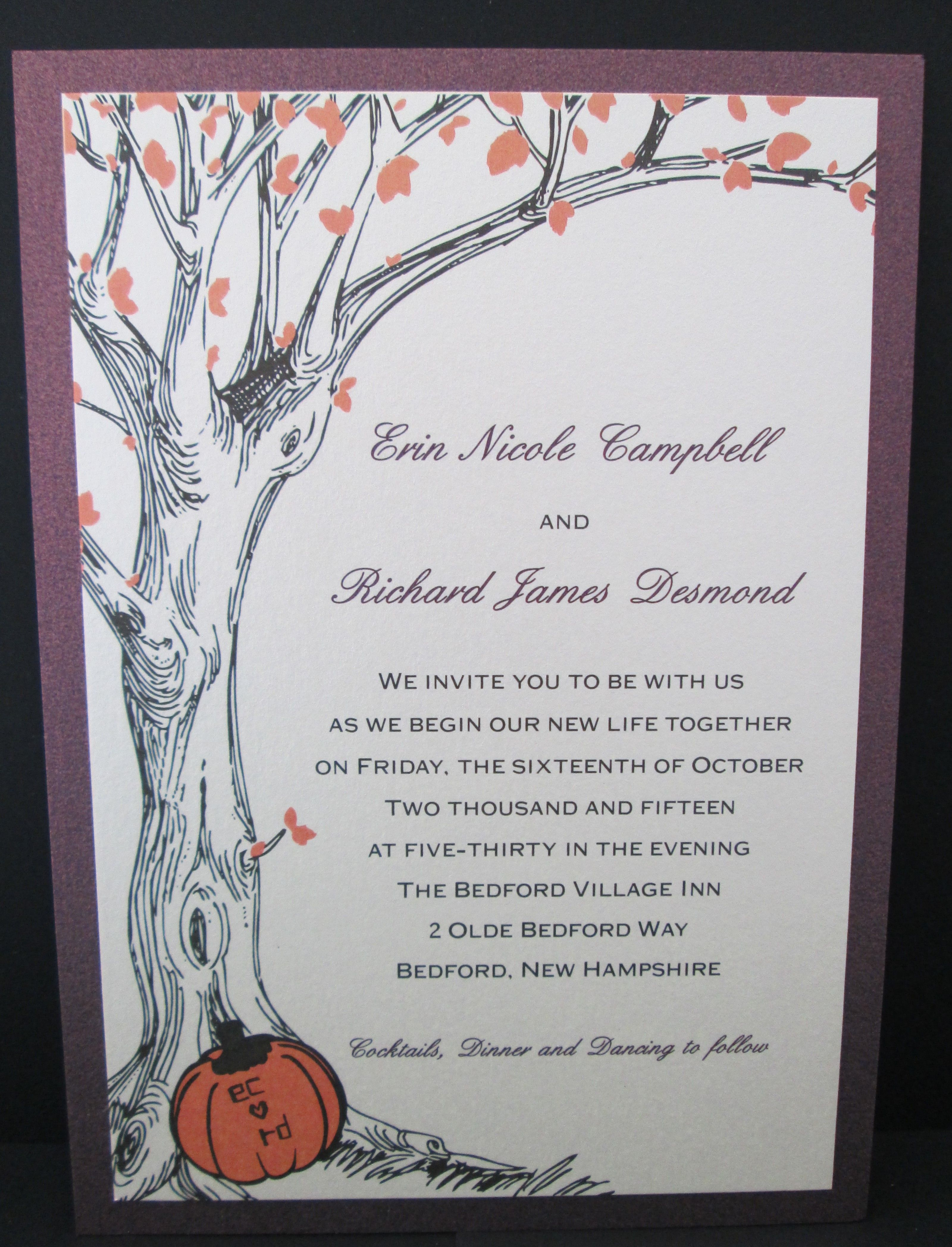 2 layer wedding invitation with tree design. Perfect for fall ...