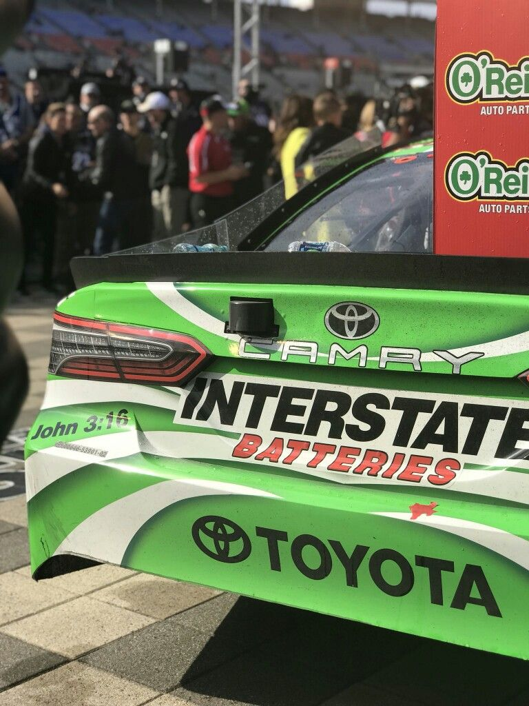 17c277ad352 John 3 16 on Kyle Busch s Interstate Batteries Toyota Camry in victory lane  at Texas 2018