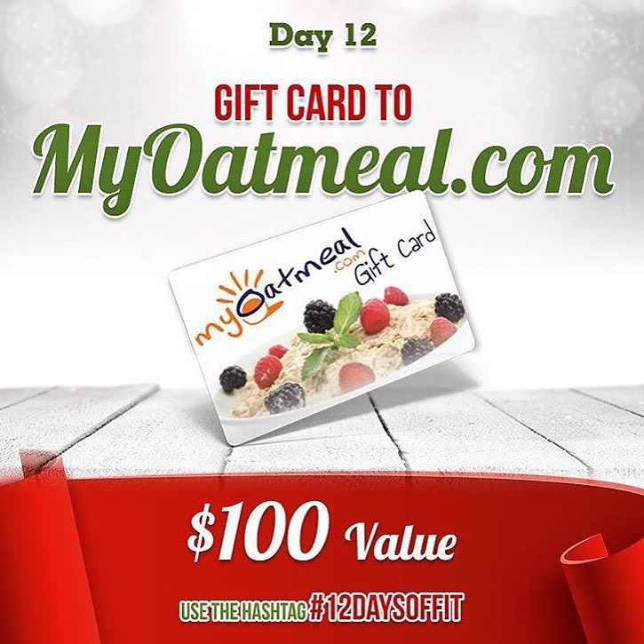DAY 12 of 12 Days Of Giveaways is the FINAL daily giveaway and your chance to win a $100 MyOatmeal Gift Card! Be sure to go over to @myoatmeal to enter  1. Follow @muscleegg  @sizzlefishfit  @fitchick428  @5280meat  @ensorings  @nutsnmore  @performancepin  @royaltynutrition @taintedindustriesclothing @lennyandlarrys  @kodiakcakes  @melissasproduce  @omgheebutter  @myoatmeal  2. Comment below tagging 3 friends and using #12DaysOfFit to spread the word!  3. Dont forget that this will enter you…