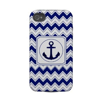 Zigzag Nautical iPhone 4 Case Mate Tough  Zigzag Chevrons Pattern Nautical Navy Blue and White with Anchor iPhone 4 Case Mate Tough
