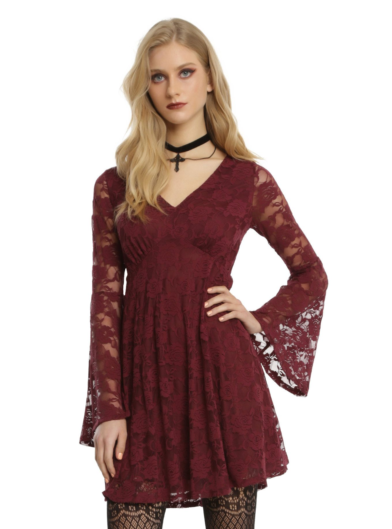 burgundy lace bell sleeve dress pinterest lace dress bodice and