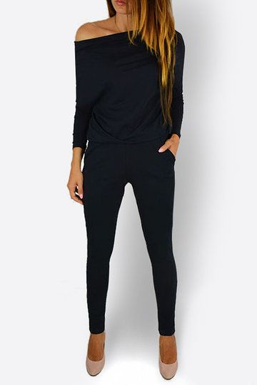 Black Round Neck Elastic Waist Jumpsuits  US$14 95 YOINS is part of Fashion - This soft jumpsuits worth freaking out over  This jumpsuits features a wide round neck  , long sleeves and side pocket details, slouchy silhouette  Pair it with high heels would be great  If you like, you can also wear it as one shoulder or off shoulder