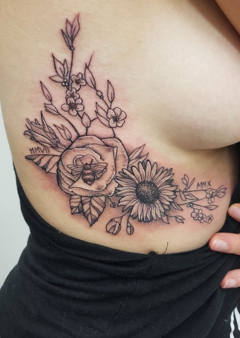 Flower tattoo on my rib | Tattoos | Pinterest