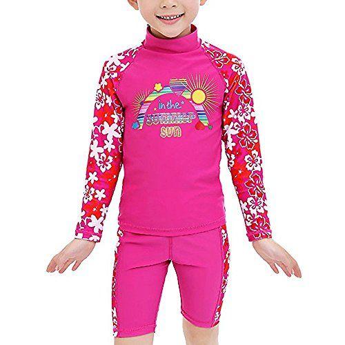 63fa2a519deb7 TFJH E Girls Swimsuit UPF 50+ UV Two Piece Rainbow Printed 3-12 Years