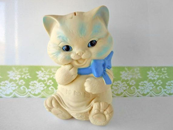 Vintage Kitten Cat Squeak Toy Coin Bank Mid by RecycledWares, $18.00