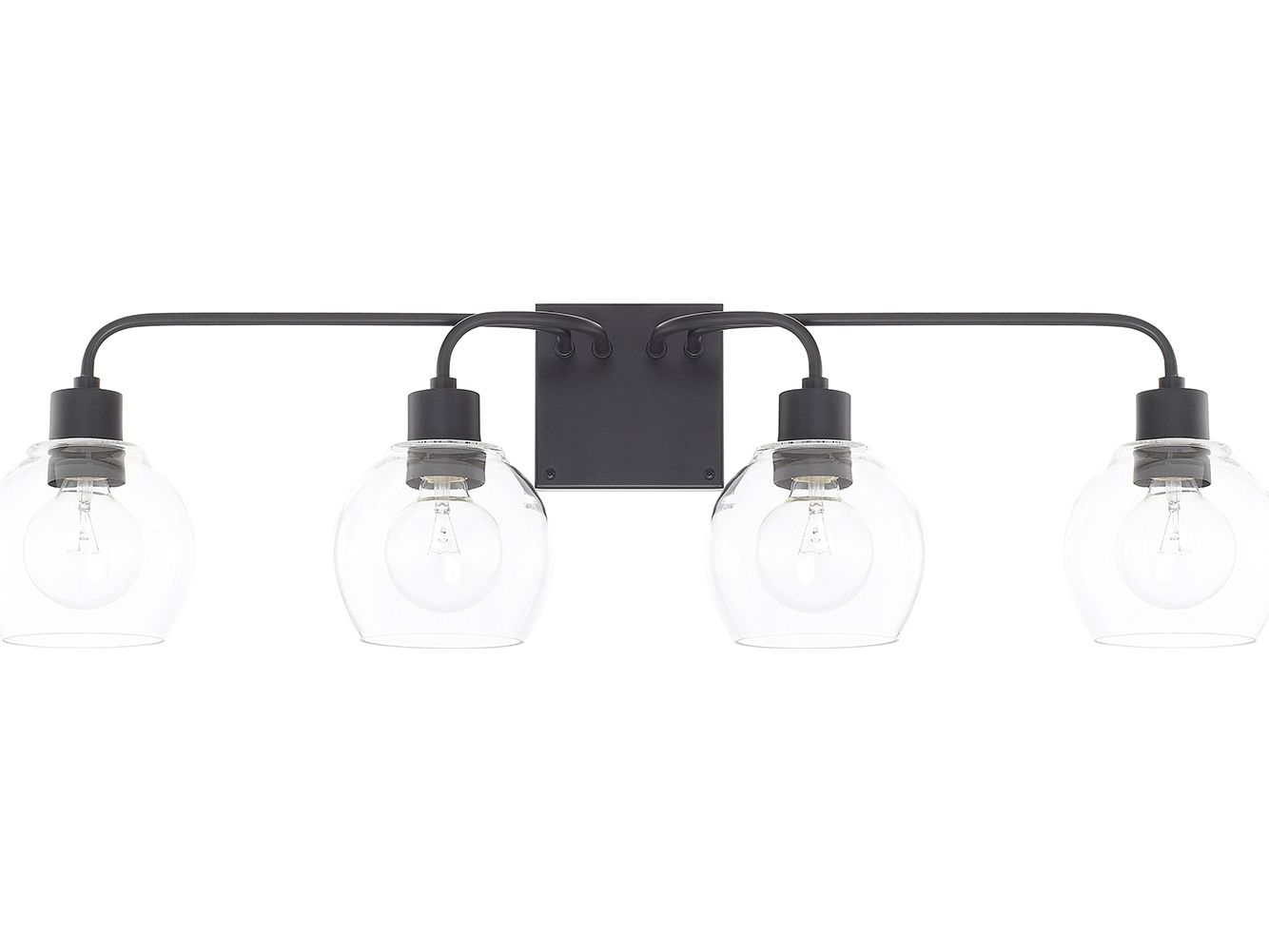 Capital Lighting Homeplace Matte Black Four Light Vanity Light Black Bathroom Light Black Vanity Light Capital Lighting