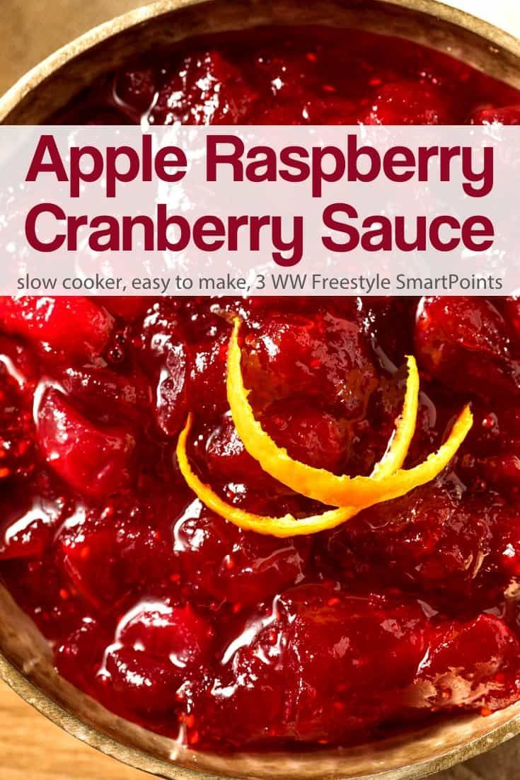 Slow Cooker Apple Raspberry Cranberry Sauce | Simple Nourished Living #cranberrysauce