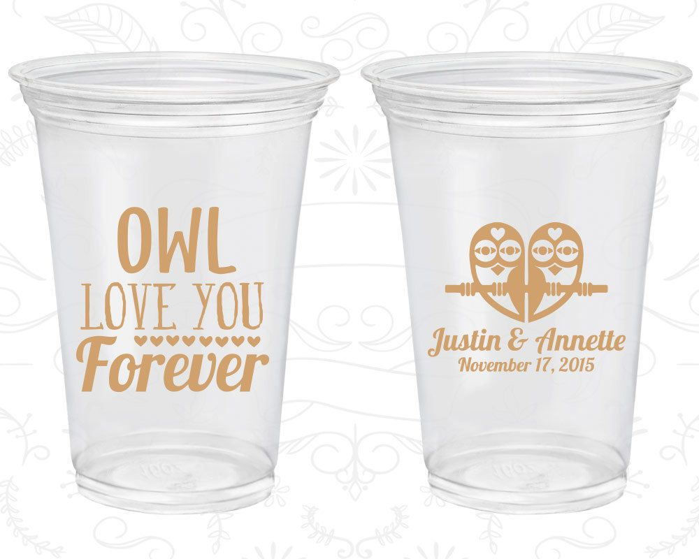 Owl Love You Forever, Wedding Favor Disposable Cups, Owl Wedding ...
