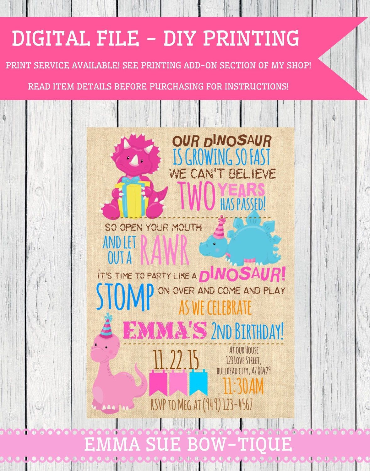 Ritzy A Personal From My Etsy Girls Dinosaur Birthday Dinosaur Personalized Birthday File Dinosaur Birthday Invitation Card Template Dinosaur Birthday Invitations Amazon