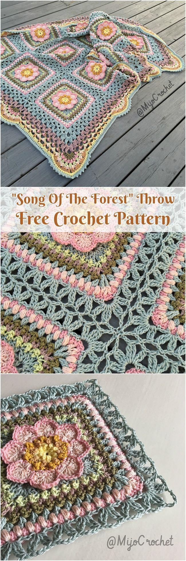 Song Of The Forest Throw [Free Crochet Pattern | Decken, Häkeln und ...