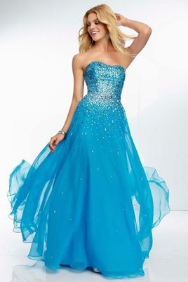 2014 Strapless Full Beaded Bodice A Line Prom Dress With Flowing Chiffon Skirt