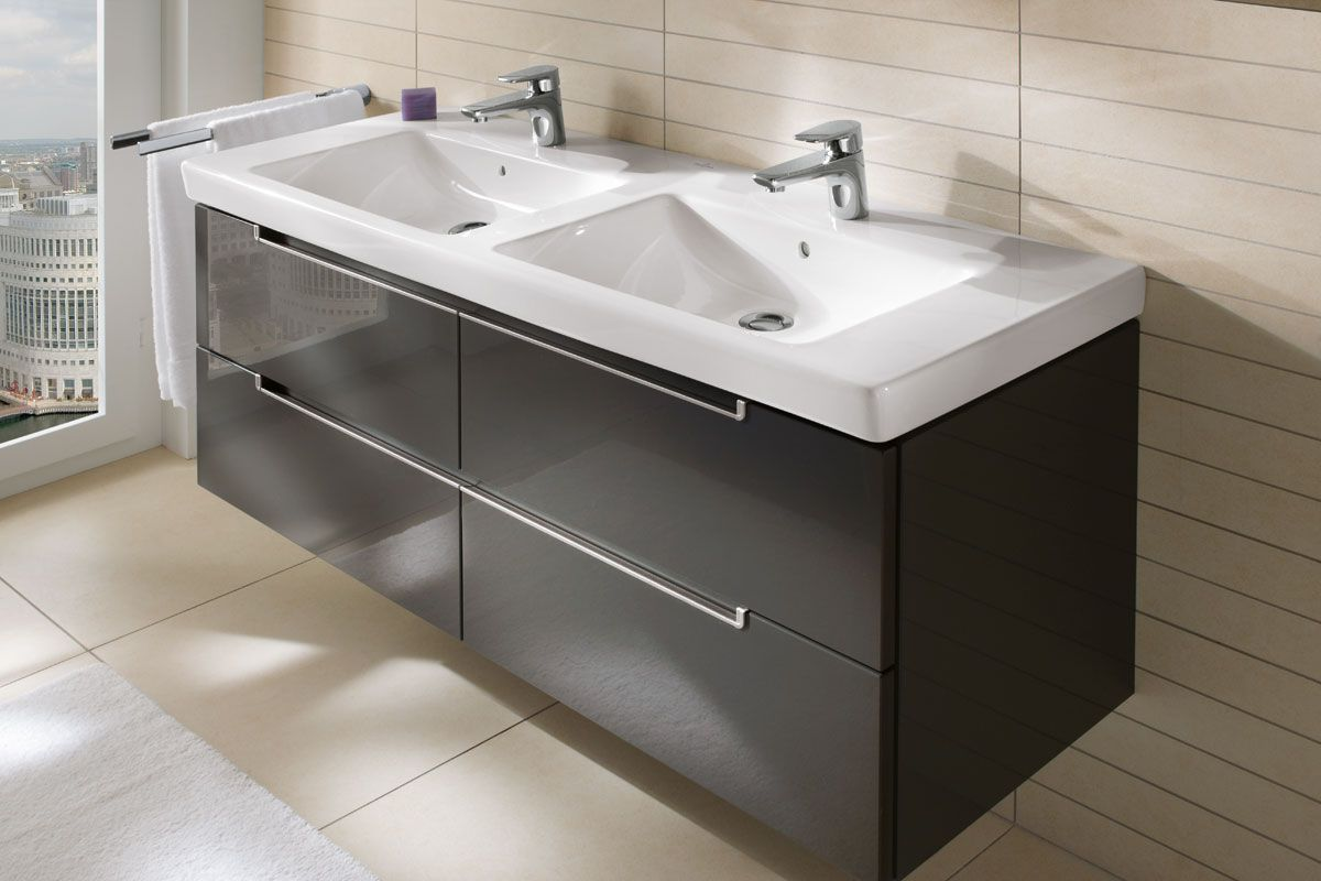 Villeroy Boch Bathroom Furniture Subway 2 0 Furniture Glossy Grey Click On Photo For High Res Double Vanity Bathroom Bathroom Vanity Bathroom Sink Vanity