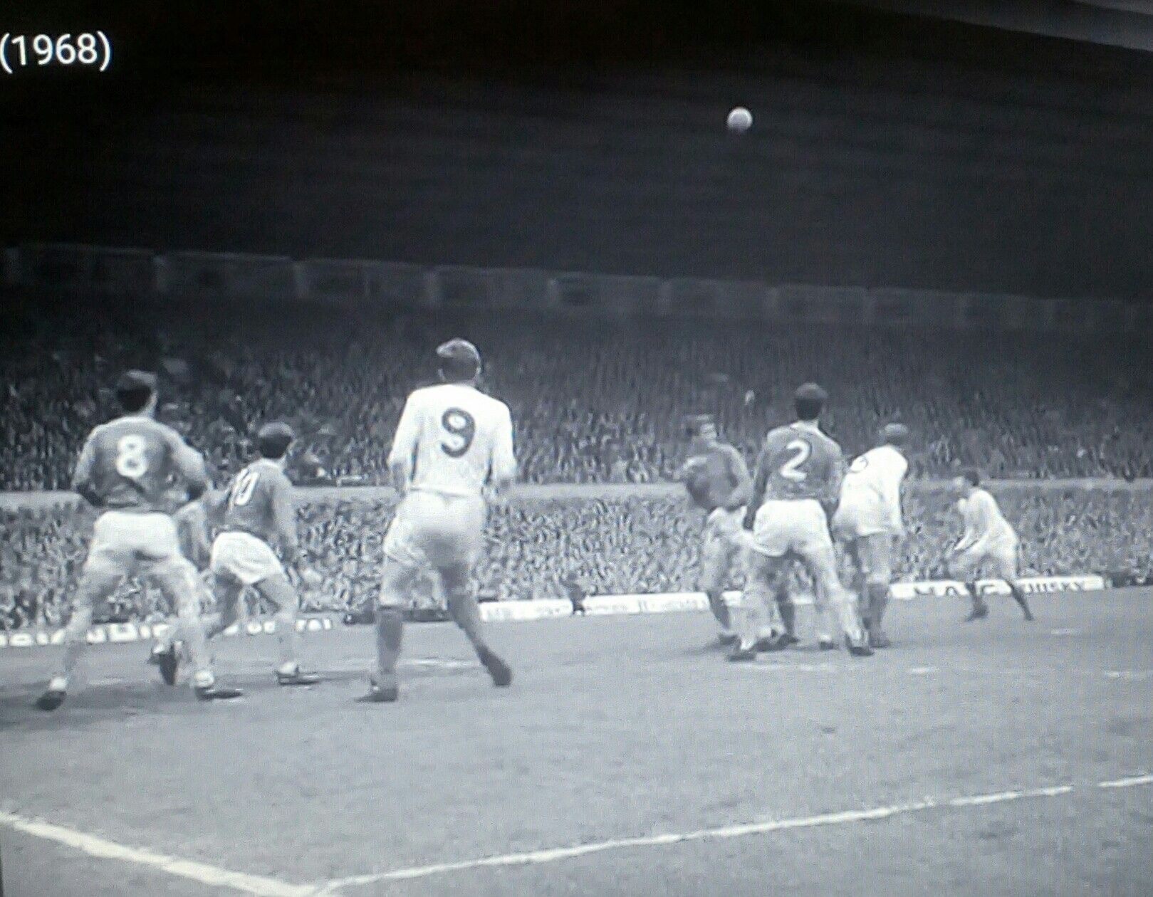 Everton 1 Leeds Utd 0 in April 1968 at Old Trafford. Brian Labone heads clear in the dying seconds in the FA Cup Semi Final.
